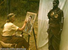 Joy Adamson paints a portrait of a Masai woman in Kenya, circa 1960.
