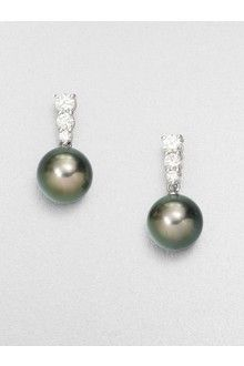 Mikimoto 9mm Tahitian Pearl Diamond Drop Earrings .
