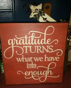 Graditude wooden painted sign