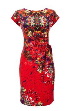 Red Floral Print Tie Side Dress