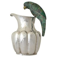 Los Castillo Silverplate Parrot Handle Pitcher. Malachite inlay.