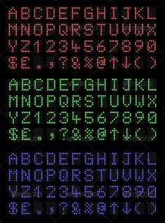 LED Font  #GraphicRiver         LED Display font numbers and letters in red, green and blue. Fully editable EPS10 vector file.