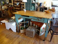 Oak Post Office table which has found a new home as a kitchen island.