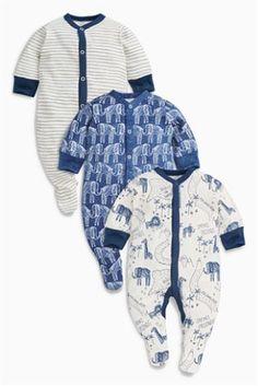 Acheter Lot de trois bodies à manches longues imprimé éléphant bleu marine/blanc…