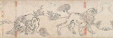 Panel from the second scroll of Chōjū-jinbutsu-giga, lions roar and scratching their backs. I want to draw some Japanese style griffins, combining shi-shi lions and Japanese-style hawks.