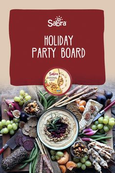 This beautiful board features all of the tastes of the traditional holiday table on one stunning and luscious platter. Holiday Tables, Holiday Parties, Guacamole Dip, Spiced Nuts, Small Mason Jars, Party Platters, Sea Salt And Pepper, Cranberry Sauce, Turkey Breast
