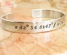 Coordinates Bracelet  Coordinates Cuff by BlueCornerCreasigns