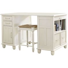Perfect as a craft station or kitchen island, this versatile desk features a distressed white finish for classic appeal. Love this for office/guest room! Double Desk, Furniture Board, Office Furniture, Craft Station, Joss And Main, Room Organization, Office Decor, Office Ideas, Building A House