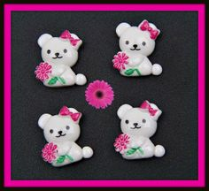 Kawaii Teddy Bear Cabochon LOW SHIPPING by angelsandcrafts on Etsy, $1.55
