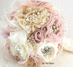 Brooch Bouquet  VintageStyle in Ivory Champagne Blush by SolBijou, $300.00