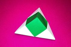 Origami pyramid box - one piece of paper. Christmas gift box. Easy gift box only 3 minutes