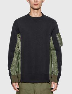 Sacai - MA-1 Sponge Sweatshirt | HBX Street Wear, Men Sweater, Vintage Fashion, Man Shop, Navy, Sweatshirts, Mens Tops, Military Clothing, Clothes