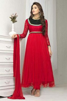Red Net Long Anarkali Salwar Kameez