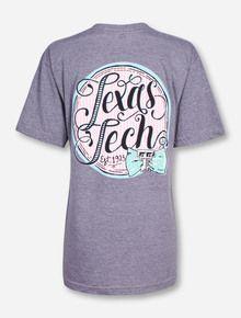Texas Tech Seersucker Script on Heather Grey V-Neck T-Shirt