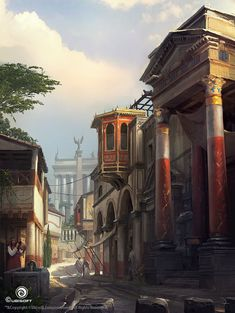 View an image titled 'Alexandria Road Art' in our Assassin's Creed Origins art gallery featuring official character designs, concept art, and promo pictures. Environment Concept Art, Environment Design, Assassins Creed Origins, Renaissance, Fantasy City, Fantasy Setting, Inca, Galaxy Art, Fantasy Landscape