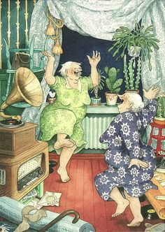 Inge Löök was born in Helsinki in 1951. She is both a gardener and an illustrator. Today she lives in Pernaja, Finland.  To date, there are 36 different images of the aunties.