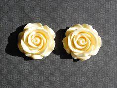 Large Ivory Rose Wedding Plugs  00g 7/16 1/2 9/16 5/8 3/4 by ryarr