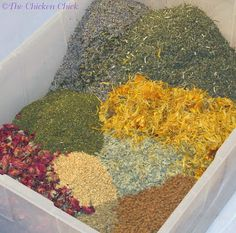 grow bay leaves, catnip, chamomile, eucalyptus, lavender, lemon balm, oregano, peppermint, rose petals, spearmint, tansy, wormwood to dry and sprinkle in nesting boxes