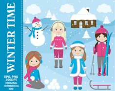 BUY 1 GET 1 FREE Winter Girls Clipart Girls by TheCreativeMill