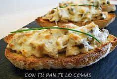 Tostas de champiñones Mexican Food Recipes, Snack Recipes, Healthy Recipes, Snacks, Cake Recipes, Mushroom Dish, Vegetarian Side Dishes, Spanish Tapas, Toast