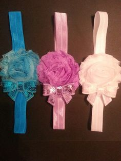 Shabby Headband for 0 to 12 months. Something simple to match many different outfits. Shabby flower and sequin bow give elegant look to any attire.