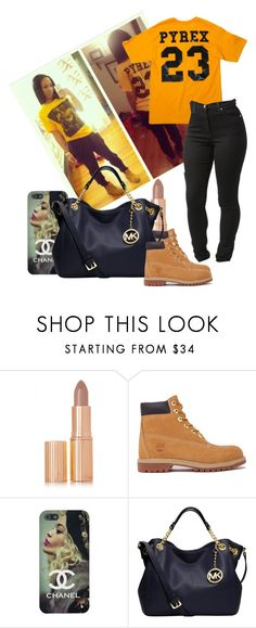 """""""#73 inspired by ayline-somindless4rayray"""" by alissa256 ❤ liked on Polyvore featuring Charlotte Tilbury, Timberland, Pyrex and MICHAEL Michael Kors"""