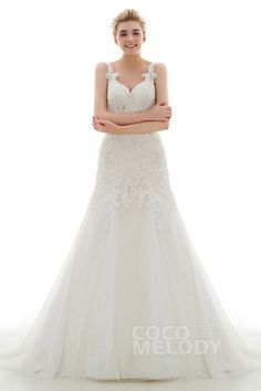 Charming Sheath-Column Straps Natural Court Train Lace and Tulle Ivory/Champagne Sleeveless Zipper With Buttons Wedding Dress with Appliques and Beading CWXF16004 #wedding dresses #custom dresses #cocomelody #sheath column dresses