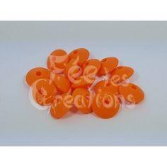 Lot de 10 Perles Plates forme lentillles orange en silicone