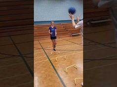 One foot hoop over hurdles while catching and throwing a weighted ball Hurdles, Physical Education, Ladder, Literacy, Physics, Basketball Court, Fitness, Stairway, Physical Education Lessons