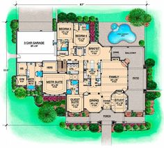 European Style House Plans - 7365 Square Foot Home, 1 Story, 5 Bedroom and 5 3 Bath, 3 Garage Stalls by Monster House Plans - Plan 63-298 would only need the first floor.