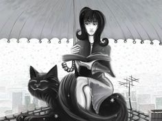 Black Cat Girl - Digital Art illustraion Wallpaper 5 - Wallcoo.net