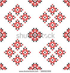 Seamless texture with black and red ornaments.Embroidery.Cross stitch. Abstract patterns