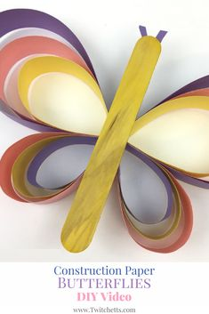 Construction Paper Strip Butterfly Video This fun paper butterfly is a great craft for kids. We love construction paper crafts and this one is so much fun to create! Paper Butterfly Crafts, Paper Butterflies, Paper Crafts For Kids, Crafts For Kids To Make, Fun Crafts, Arts And Crafts, Paper Crafting, Toddler Crafts, Preschool Crafts