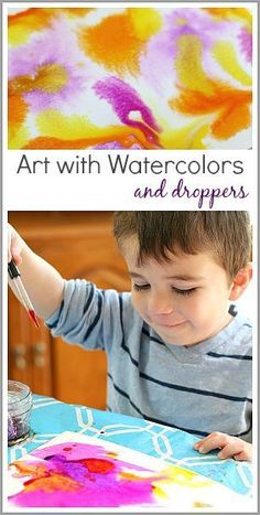 Process Art for Kids: Painting with watercolors and droppers (pipettes)- lots of fun for toddlers, preschoolers, and on up! Great way to explore color mixing too! ~ BuggyandBuddy.com/