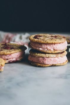 Strawberry Rhubarb Ice Cream Sandwiches
