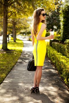 Stunning zippered yellow dress. Perfect for spring!