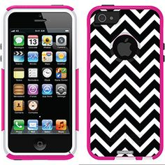 Black and White Chevron on OtterBox Commuter Series Case for iPhone 5 Avon Pink