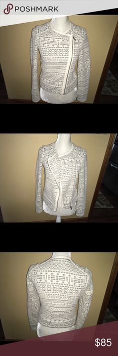Joie Ivory and black pattern Moto Jacket Joie Moto Jacket in. Cute black and ivory pattern with leather trim.  Dry clean only.  Shell 74% Cotton, 24% Polyester; lining 95% Polyester, 5% Spandex.  Can easily wear this with jeans or to work..very versatile. Joie Jackets & Coats Blazers