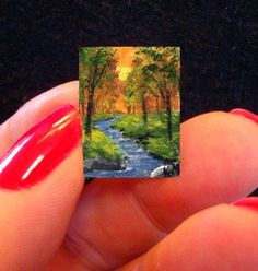 "Dollhouse Miniature Tiny Painting ""Creekside"" Woods Creek by K Manuel 