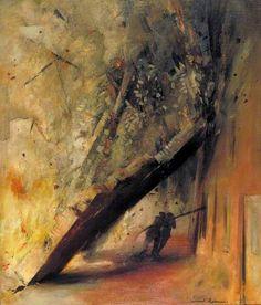 A House Collapsing on Two Firemen, Shoe Lane, London, EC4. Leonard Henry Rosoman.