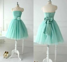 Simple Short Mint Green Tulle Beach Bridesmaid Dresses For 2015 Spring Summer Garden Wedding Maid of Honor Strapless Ruched Flower Waist New Online with $74.63/Piece on Sarahbridal's Store | DHgate.com