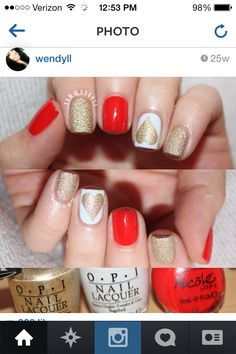 Red, gold, and white nail art. #Hearts