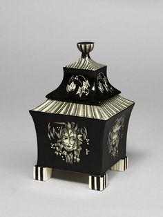 Box Vienna, Austria (made) ca. 1922  Peche, Dagobert, born 1887 - died 1923 (probably, designer)  Vereinigte Wiener und Gmundner Keramik GmBH (manufacturer)   Earthenware with painted decoration