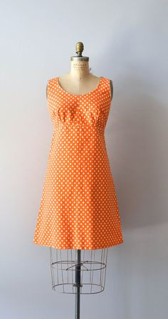 polka dot 60s dress / mod 1960s dress / Orange Julius mod dress