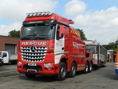 Mercedes Benz Arocs 8x4 tow wrecker truck on duty