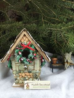 christmas birdhouse diy fairyhouse homedecor holiday gift craft - Bird House Christmas Decoration