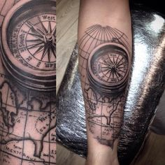 Compass & map forearm piece I tattooed today. #tattoo #tattoos #tattooed #tatted #art #artist ...