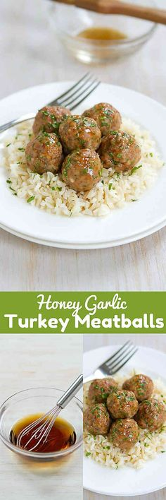 Who can resist a plateful of Honey Garlic Turkey Meatballs?! Great as appetizers or served over rice as an easy dinner. 239 calories and 7 Weight Watchers SmartPoints