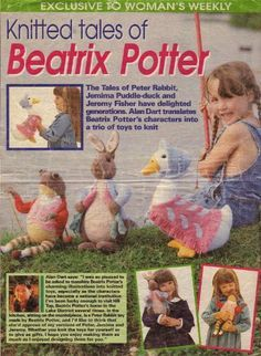 Beatrix Potter Peter Rabbit, Jemima Puddle Duck and Jeremy Fisher by Alan Dart Toys Knitting Patterns Woman's Weekly Magazine Pull Out Patte. Knitted Dolls, Crochet Toys, Peter Rabbit Toys, Tales Of Beatrix Potter, Alan Dart, Animal Knitting Patterns, Womans Weekly, Knitted Animals, Baby Knitting