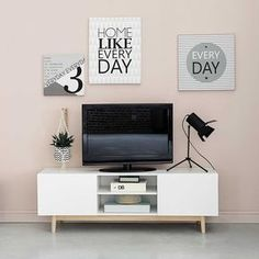 TV-Lowboard im Vintage-Stil aus Holz, B 150 cm, weiß